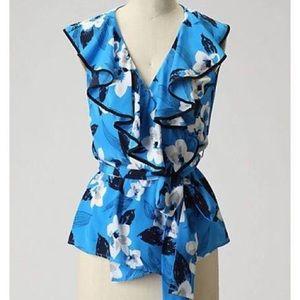 Yumi Kim blue butterfly ruffle trim wrap top Xs